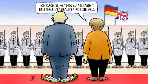 Cartoon: Johnson bei Merkel (medium) by Harm Bengen tagged clownsnasen,clownschuhe,boris,johnson,brexit,uk,gb,merkel,deutschland,soldaten,staatsempfang,staatsbesuch,backstop,regelung,harm,bengen,cartoon,karikatur,clownsnasen,clownschuhe,boris,johnson,brexit,uk,gb,merkel,deutschland,soldaten,staatsempfang,staatsbesuch,backstop,regelung,harm,bengen,cartoon,karikatur