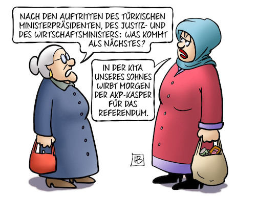 Cartoon: Referendum-Werbung (medium) by Harm Bengen tagged auftritte,türkische,ministerpräsident,justizminister,wirtschaftsministers,türkei,erdogan,referendum,kita,kasper,akp,diktatur,harm,bengen,cartoon,karikatur,auftritte,türkische,ministerpräsident,justizminister,wirtschaftsministers,türkei,erdogan,referendum,kita,kasper,akp,diktatur,harm,bengen,cartoon,karikatur