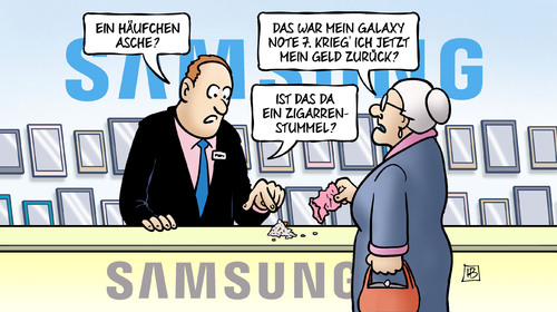 Cartoon: Samsung-Asche (medium) by Harm Bengen tagged asche,geld,zigarrenstummel,susemil,feuer,samsung,galaxy,note,brand,harm,bengen,cartoon,karikatur,asche,geld,zigarrenstummel,susemil,feuer,samsung,galaxy,note,brand,harm,bengen,cartoon,karikatur