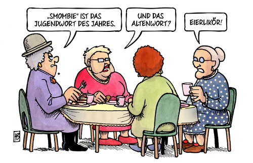 Cartoon: Smombie (medium) by Harm Bengen tagged smombie,jugendwort,altenwort,eierlikoer,susemil,harm,bengen,cartoon,karikatur,smombie,jugendwort,altenwort,eierlikoer,susemil,harm,bengen,cartoon,karikatur