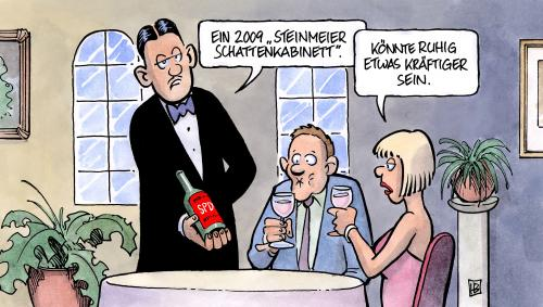 Cartoon: SPD-Schattenkabinett (medium) by Harm Bengen tagged spd,schattenkabinett,steinmeier,kandidat,wahl,bundestagwahl,mannschaft,minister,wein,kellner,kabinett,kompetenzteam,spd,schattenkabinett,frank walter steinmeier,wahl,wahlen,bundestagwahl,mannschaft,minister,wein,kellner,kabinett,kompetenz,team,frank,walter,steinmeier