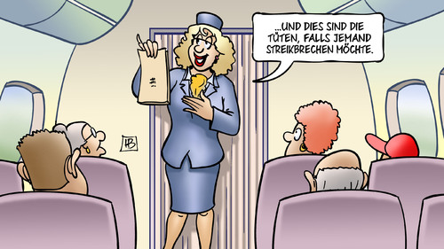 Cartoon: Streikbrecher (medium) by Harm Bengen tagged bengen,harm,flugzeuge,rente,tarif,gewerkschaft,cockpit,piloten,pilotenvereinigung,streik,lufthansa,lufthansastreik,flugbegleiterin,stewardess,fliegen,kotztüte,karikatur,cartoon,kotzen,brechen,tüten,tüten,brechen,kotzen,kotztüte,fliegen,stewardess,flugbegleiterin,lufthansastreik,lufthansa,streik,pilotenvereinigung,piloten,cockpit,gewerkschaft,tarif,rente,flugzeuge,harm,bengen,cartoon,karikatur