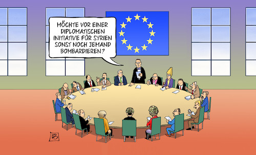 Cartoon: Syrien-Diplomatie (medium) by Harm Bengen tagged initiative,europa,bombardieren,macron,may,frankreich,gb,uk,syrien,raketen,bombardierung,vermittler,diplomatie,harm,bengen,cartoon,karikatur,initiative,europa,bombardieren,macron,may,frankreich,gb,uk,syrien,raketen,bombardierung,vermittler,diplomatie,harm,bengen,cartoon,karikatur