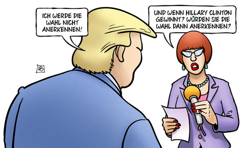 Cartoon: Wahlanerkennung (medium) by Harm Bengen tagged karikatur,cartoon,bengen,harm,interview,demokratie,duell,tv,trump,donald,usa,präsidentschaftswahl,wahlkampf,clinton,hillary,wahlanerkennung,wahlanerkennung,hillary,clinton,wahlkampf,präsidentschaftswahl,usa,donald,trump,tv,duell,demokratie,interview,harm,bengen,cartoon,karikatur