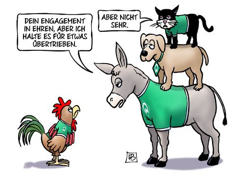 Cartoon: Werder-Krise (medium) by Harm Bengen tagged werder,fussball,bundesliga,bremen,bremer,stadtmusikanten,esel,hund,katze,hahn,selbstmordattentäter,krise,engagement,harm,bengen,cartoon,karikatur,werder,fussball,bundesliga,bremen,bremer,stadtmusikanten,esel,hund,katze,hahn,selbstmordattentäter,krise,engagement,harm,bengen,cartoon,karikatur