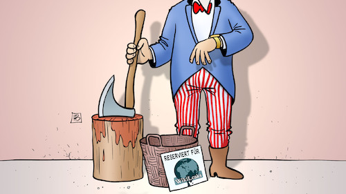 Cartoon: Wikileaks-Enthauptung (medium) by Harm Bengen tagged henker,scharfrichter,uncle,sam,assange,verhaftung,gefaengis,botschaft,equador,asyl,wikileaks,whitleblower,enthuellungen,gb,uk,usa,auslieferung,chaos,harm,bengen,cartoon,karikatur,henker,scharfrichter,uncle,sam,assange,verhaftung,gefaengis,botschaft,equador,asyl,wikileaks,whitleblower,enthuellungen,gb,uk,usa,auslieferung,chaos,harm,bengen,cartoon,karikatur