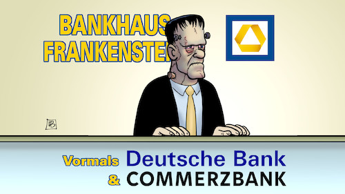 Cartoon: Zombie-Bank (medium) by Harm Bengen tagged zombie,deutsche,bank,commerzbank,bankhaus,frankenstein,monster,fusion,harm,bengen,cartoon,karikatur,zombie,deutsche,bank,commerzbank,bankhaus,frankenstein,monster,fusion,harm,bengen,cartoon,karikatur