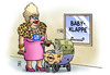 Cartoon: GM-Bilanz (small) by Harm Bengen tagged gm,bilanz,opel,deutschland,usa,gewinne,verluste,kinderwagen,babyklappe
