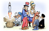 Cartoon: Indischer Raketentest (small) by Harm Bengen tagged indischer,raketentest,langstreckenraketen,atomraketen,atomar,krieg,bedrohung,gleichgewicht,china,indien,usa,europa,stier,iran,nordkorea