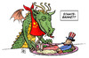 Cartoon: Staatsbankett USA-China (small) by Harm Bengen tagged staatsbankett,usa,china,obama,hu,jintao,mittagessen,wirtschaft,aufstieg,verschuldung,staatsanleihen,essen,fressen,verspeisen,teller,drache,uncle,sam
