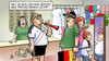 Cartoon: Zopf (small) by Harm Bengen tagged fussball,em,fan,shop,zopf,fahne,trikot,europameisterschaft,boykott,drohung,ukraine,deutschland,merkel,westerwelle,gauck,timoschenko,janukowitsch,gericht,prozess,haft,hungerstreik,justiz,willkuer,dfb