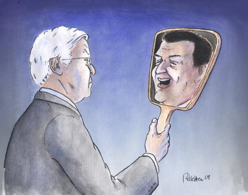 Cartoon: Spieglein Spieglein (medium) by Rolletter tagged bundestagswahl,wahlkampf,steinmeier,spieglein