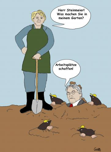Cartoon: arbeit buddeln (medium) by constanze tagged merkel