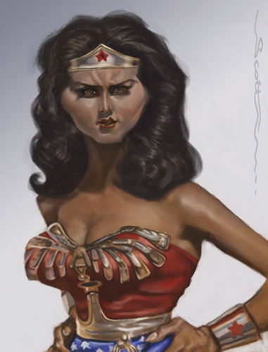 Cartoon: Wonderbabe (medium) by jonesmac2006 tagged wonder,woman,linda,carter,caricature