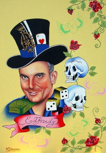Cartoon: Christian Audigier (medium) by Sanni tagged christian,audigier,ed,hardy