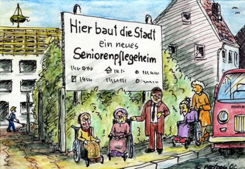 Cartoon: neues seniorenheim (medium) by nootoon tagged senioren,alte,oma,opa,retirement,elder,nootoon