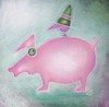 Cartoon: Blinder Passagier (small) by ninaboosart tagged reisen,blinder,passagier,schwein,vogel,hut