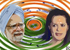 Cartoon: India in turbulent times! (small) by Dadaphil tagged manmohan,singh,sonia,gandhi,india,indien,turbulent