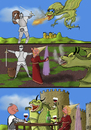 Cartoon: Peace - Frieden (small) by Dadaphil tagged dragon,drachen,peace,frieden,knight,ritter,wine,wein