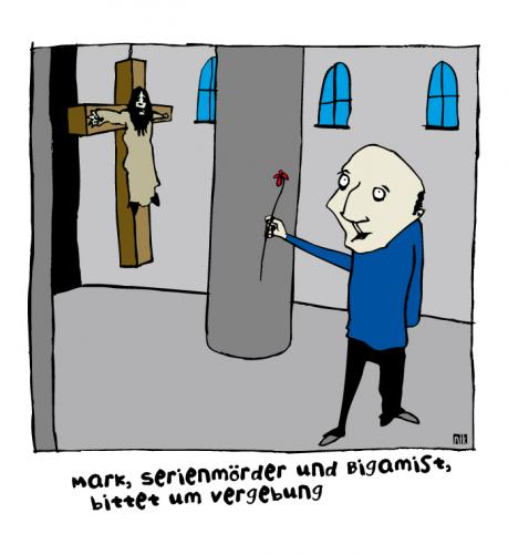 Cartoon: Serienmörder (medium) by nik tagged serienmörder,bigamie,kirche,jesus,vergebung