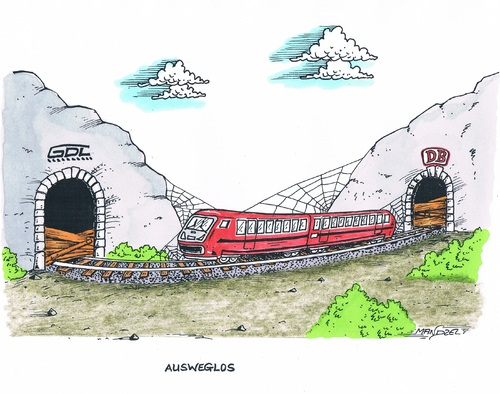 Cartoon: Bahnstreik (medium) by mandzel tagged bahnstreik,gdl,db,blockade,bahnstreik,gdl,db,blockade
