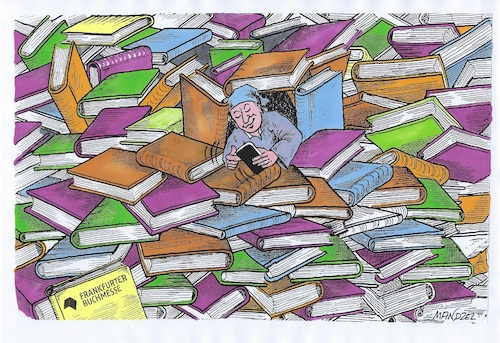 Cartoon: Frankfurter Buchmesse (medium) by mandzel tagged buchmesse,bücher,michel,smartphone,buchmesse,bücher,michel,smartphone