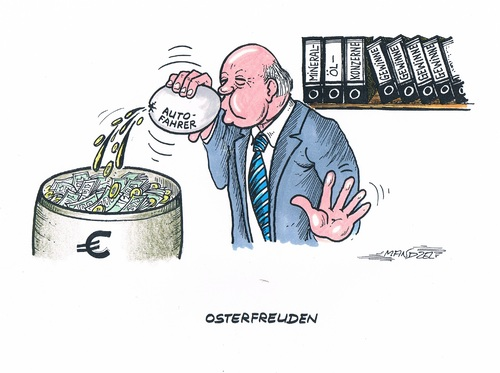 Cartoon: Osterfreuden (medium) by mandzel tagged ostern,geld,gewinne,spritpreise,reiseverkehr