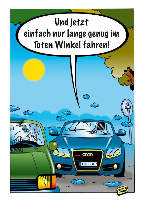 Cartoon: Der Tod auf der Überholspur (large) by stefanbayer tagged weg,straße,autobahn,bundesstraße,überholen,rasen,fahren,auto,fahrzeug,winkel,rückspiegel,toterwinkel,schulterblick,automobil,stefan,bayer,der