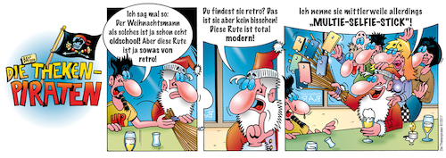 Cartoon: Die Thekenpiraten 81 (medium) by stefanbayer tagged modernisierbar,weihnachten,weihnachtsmann,weihnachtsfest,retro,oldschool,rute,selfiestick,bar,bier,wein,kneipe,club,smartphone,foto,fotografieren,selfie,theke,piraten,thekenpiraten,bay,stefanbayer,bayer