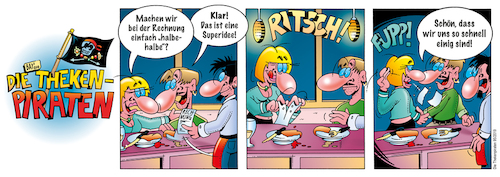 Cartoon: Die Thekenpiraten 95 (medium) by stefanbayer tagged theke,piraten,thekenpiraten,bier,wein,sekt,alkohol,gastronomie,club,lounge,essen,rechnung,bezahlen,zeche,prellen,einigkeit,paar,bay,bayer,stefanbayer