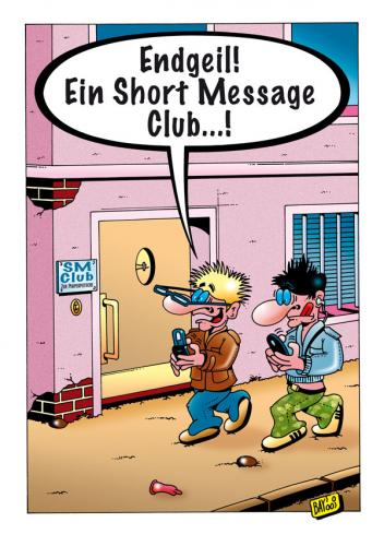 Cartoon: Endgeil! (medium) by stefanbayer tagged handy,sm,sms,mobiltelefon,jugendliche,teenager,tippen,club,sadomaso,simmsen,stefan,bayer