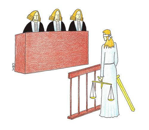 Cartoon: court-defendant-themis (medium) by cemkoc tagged mahkeme,hakim,adalet,richter,gesetz,legal,jurisdiction,lex,supreme,tribunal,judgement,court,judge,justice,themis,cartoons,law,karikatürleri,hukuk