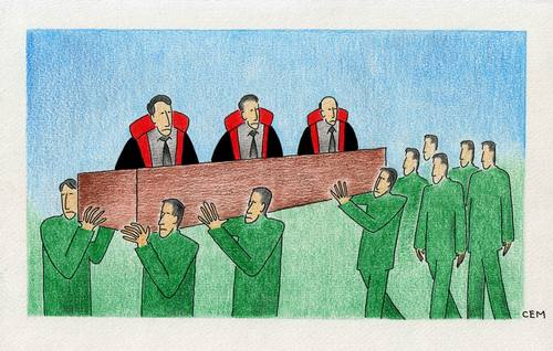 Cartoon: court (medium) by cemkoc tagged law,cartoons,hukuk,karikatürleri,cem,ko,justice,judge,judicial,court,judgement,tribunal,supreme,lex,jurisdiction,legal,gesetz,richter,adalet,hakim,mahkeme,robe,wig,defendant,prosecutor,koc,magistrate,judgeship
