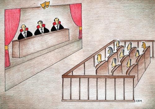 Cartoon: court theatre (medium) by cemkoc tagged judicial,judge,justice,ko,cem,karikatürleri,hukuk,cartoons,law,theatre,court,judgement,tribunal,supreme,lex,jurisdiction,legal,gesetz,richter,adalet,hakim,mahkeme,robe,wig,defendant,prosecutor,koc,magistrate,judgeship