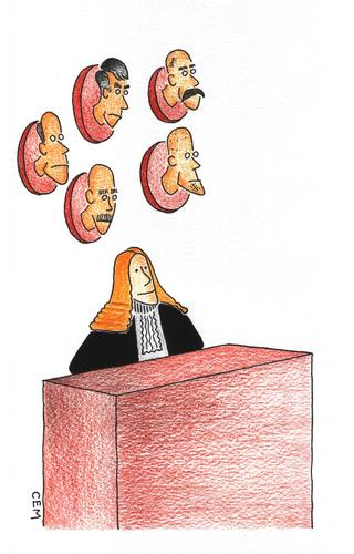 Cartoon: judge (medium) by cemkoc tagged jurist,juridical,rights,judgeship,magistrate,mirror,court,justice,law,judgement,judge,cem,koc