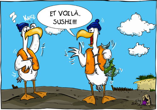 Cartoon: Watt kulinarisch (medium) by Grayman tagged watt,kulinarisch,möwen,sushi,fisch,algen