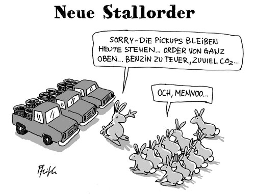 Cartoon: Oster-Stallorder (medium) by Andreas Pfeifle tagged ostern,osterhase,hase,pickup,benzinpreis,co2,order