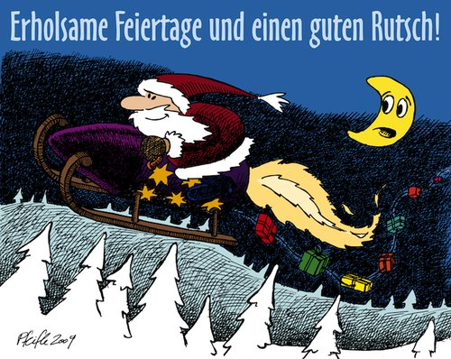 Cartoon: Rocketing Santa (medium) by Andreas Pfeifle tagged weihnacht,weihnachten,weihnachtsmann,rakete,santa