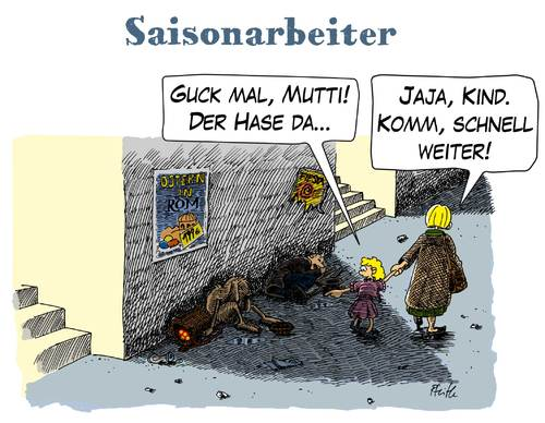 Cartoon: Saisonarbeiter (medium) by Andreas Pfeifle tagged saison,saisonarbeiter,ostern,osterhase,arbeitslos