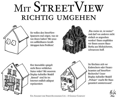Cartoon: StreetView-Accessories (medium) by Andreas Pfeifle tagged streetview,google,haus,burka,attrappe,straße,internet