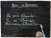 Cartoon: french lesson. (small) by Tchavdar tagged charlie,hebdo,caricature,attentat,france,paris,liberte,je,suis,solidarite