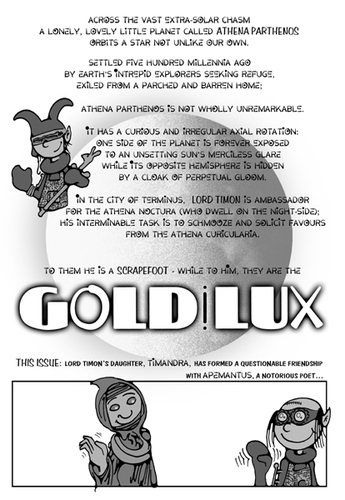 Cartoon: GOLDiLUX Scene 1 (medium) by gothink tagged distant,planet,space,adaptation,shakespear,athens,fi,sci,fiction,science,timon