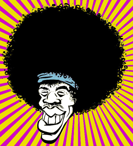 Cartoon: Jimi_Hendrix (medium) by cosmicomix tagged caricature,caricatura,jimi,hendrix,drugs,and,rock,roll