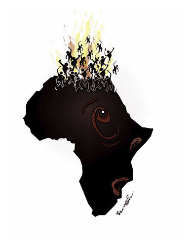 Cartoon: STAND UP !..LEVES TOI !.. (medium) by ismail dogan tagged africa,north