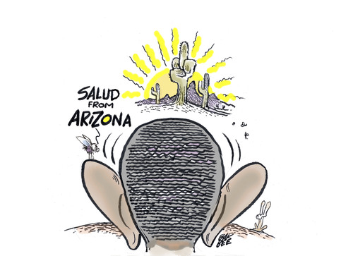 Cartoon: not quiet on the western front (medium) by barbeefish tagged arizona