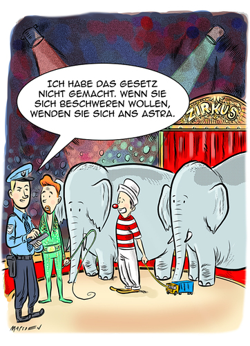Cartoon: Gesetze gegen Elefantenrennen (medium) by ian david marsden tagged elefantenrennen,trucks,lastwagen,polizei,kontrolle,zirkus,clown,elefanten