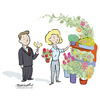 Cartoon: flower shop with man and woman 2 (small) by ian david marsden tagged flowers,blumen,laden,schmetterling,butterfly,shop,flower,plants,lady,salesgirl,shopgirl,cartoon,illustration