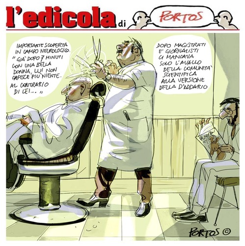 Cartoon: edicola (medium) by portos tagged berlusconi,lui,lei,daddario,escort