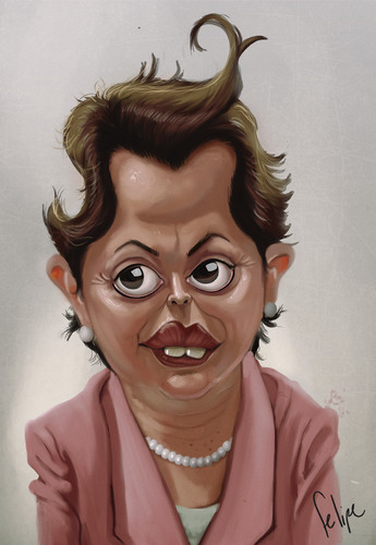 Cartoon: President Dilma (medium) by Felipe Moreira tagged digital,paint,caricature