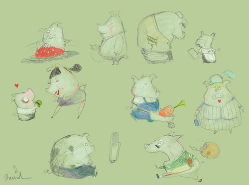 Cartoon: Piggies (medium) by Garrincha tagged animals,sketches,cartoons